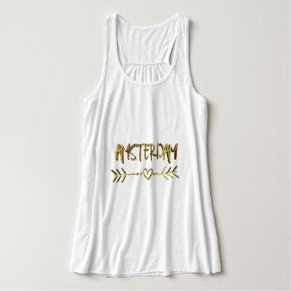 Camiseta Con Tirantes Tipografía holandesa de la mirada del oro del amor