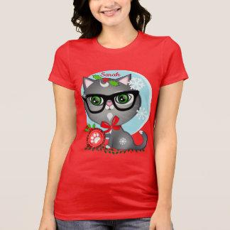 Camiseta conocida de encargo del gato del navidad