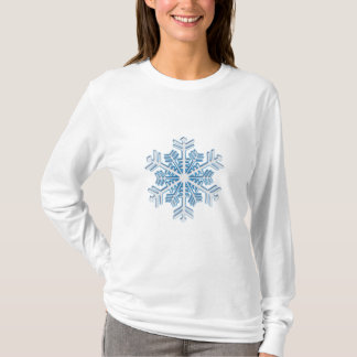 Camiseta Copo de nieve azul helado clásico del navidad del