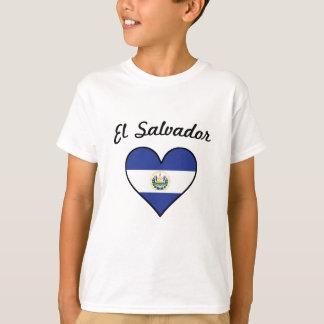 Camiseta Corazón de la bandera de El Salvador