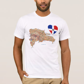 Camiseta Corazón de la bandera de la República Dominicana y