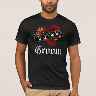 Camiseta Corazón del tatuaje y novio de los rosas