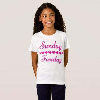 Camiseta Corazón rosado divertido lindo de domingo Funday