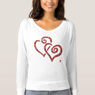 Camiseta Corazones entrelazados, rojo, diseño emoji-llenado