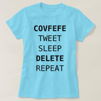 Camiseta COVFEFE, PÍO, SUEÑO, CANCELACIÓN, REPITEN el azul