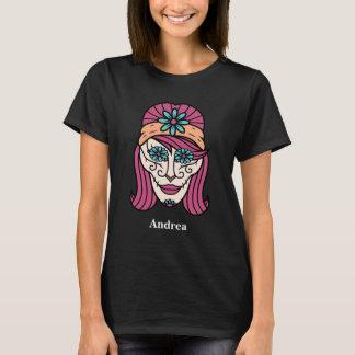 Camiseta Cráneo colorido personalizado del azúcar de Cinco