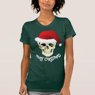 Camiseta Cráneo de las Felices Navidad con el gorra de