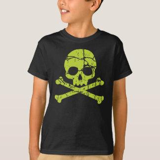 Camiseta Cráneo verde y bandera pirata del vintage