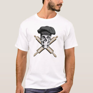 Camiseta Cráneo y rodillos del panadero: Negro