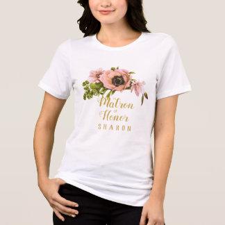 Camiseta Criada del Swag del Peony/matrona rosadas del