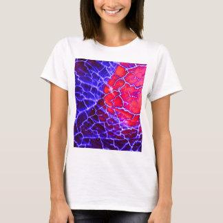 Camiseta Cristal de cuarzo agrietado rojo y púrpura