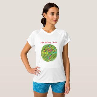 Camiseta cristiana del cuello en v de la paz de la