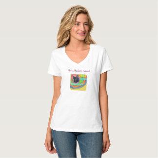 Camiseta cristiana del cuello en v del gato de la