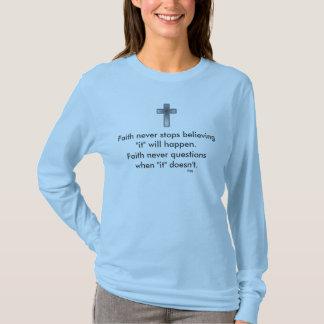 Camiseta Cruz nunca larga de la manga w/Blue de la fe