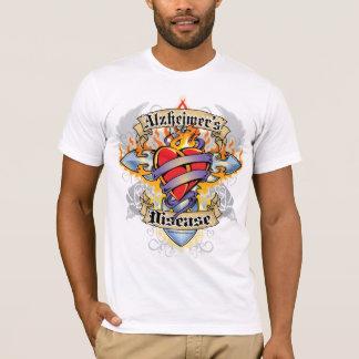 Camiseta Cruz y corazón de la enfermedad de Alzheimers