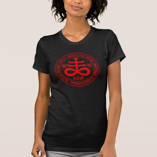 Camiseta cruzada satánica de Satan del saludo de l