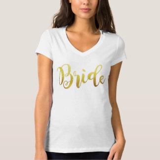 Camiseta Cuello en v de la chispa de Ombre del oro de la