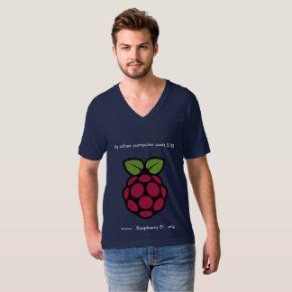 Camiseta Cuello en v de la frambuesa pi