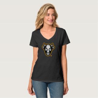 Camiseta Cuello en v de las señoras de la vaca de Wisconsin