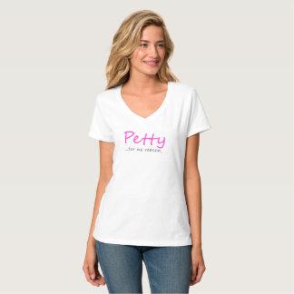 Camiseta Cuello en v pequeño del rosa w/Gray