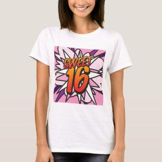 Camiseta CUMPLEAÑOS del DULCE 16 del rosa del arte pop del