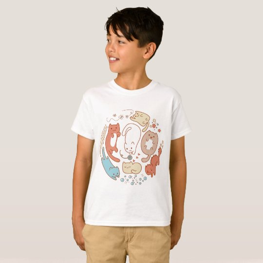 Camiseta Cute cats and kitties playing in a circle drawing