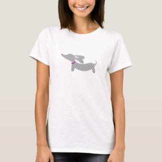 Camiseta Dachshund gris + Nariz de Purple Heart