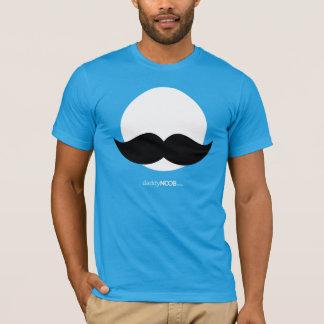 Camiseta DaddyNoob - azul del emblema del bigote