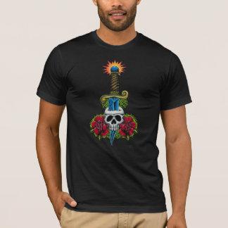 Camiseta Daga, cráneo, y rosas