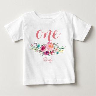 Camiseta De Bebé 1r Acuarela Personalized-8 floral del cumpleaños