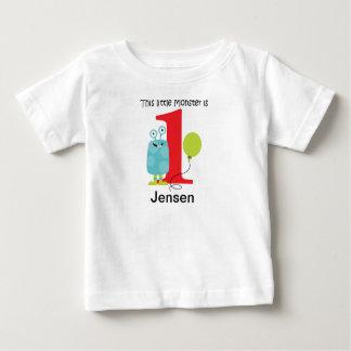 Camiseta De Bebé 1r Pequeño azul del monstruo del cumpleaños