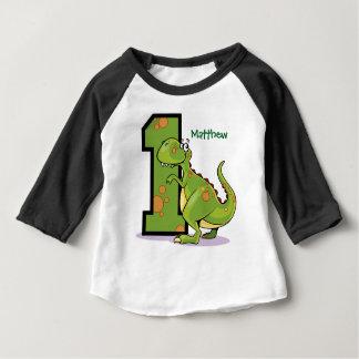 Camiseta De Bebé 1r Personalizado del dinosaurio del cumpleaños