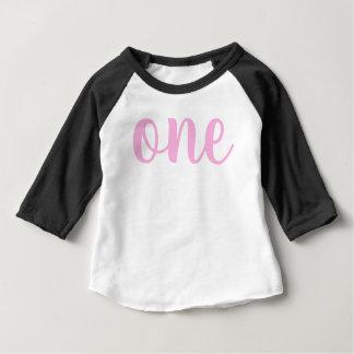 Camiseta De Bebé 1r primer cursive del rosa uno de la niña del