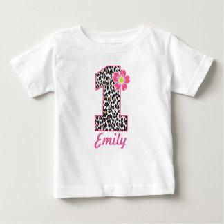 Camiseta De Bebé 1r Rosas fuertes y estampado leopardo del chica