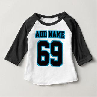Camiseta De Bebé 2 raglán NEGRO BLANCO lateral de la manga del AZUL
