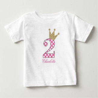 Camiseta De Bebé 2do Birthday|Polka Dots|Glitter-Print