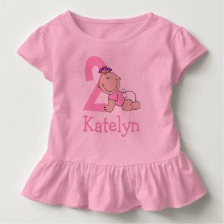 Camiseta De Bebé 2do cumpleaños del rosa lindo
