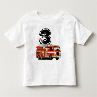 Camiseta De Bebé 3ro coche de bomberos del rojo del cumpleaños del
