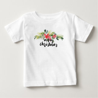 Camiseta De Bebé Acuarela del navidad el   - acebo de las Felices