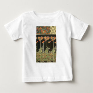 Camiseta De Bebé Amapolas populares de Nouveau del arte del vintage