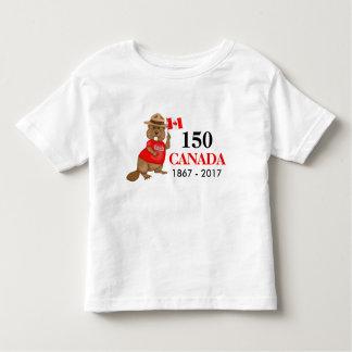 Camiseta De Bebé Aniversario orgulloso canadiense del castor 150