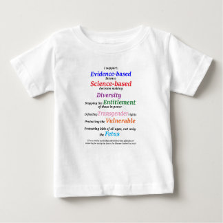 Camiseta De Bebé Apoyo diversidad y ciencia basada las pruebas