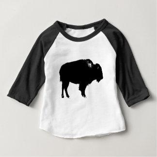 Camiseta De Bebé Arte pop negro y blanco de la silueta del búfalo