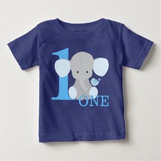 Camiseta De Bebé Azul del elefante del safari un primer muchacho