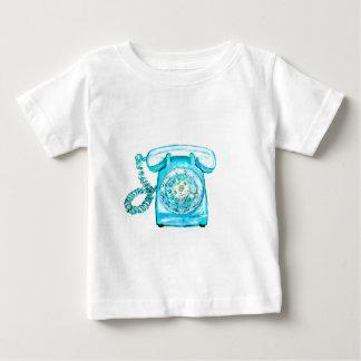 Camiseta De Bebé Azul rotatorio del vintage de la turquesa retra