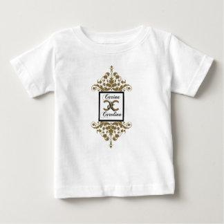Camiseta De Bebé Bebé negro blanco del dulce 16 del damasco del oro
