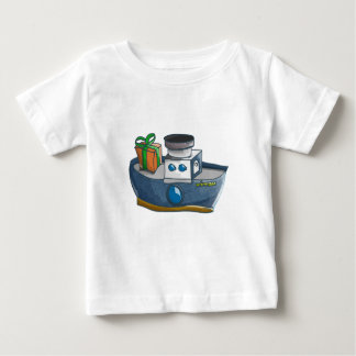 Camiseta De Bebé Buque de vapor azul y blanco del dibujo animado