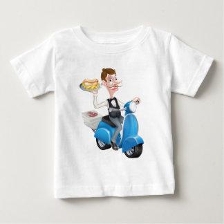Camiseta De Bebé Camarero del dibujo animado en el ciclomotor de la