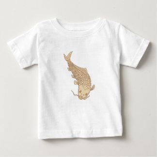 Camiseta De Bebé Carpa de Koi Nishikigoi que se zambulle abajo del