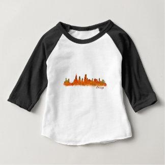 Camiseta De Bebé chicago skyline in watercolor Cityscape